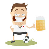 German football player with big glass of beer Stock Images