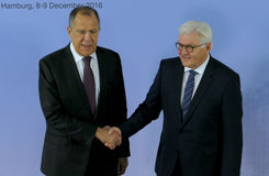 German Foreign Minister Dr Frank-Walter Steinmeier welcomes Sergey Lavrov Royalty Free Stock Photo