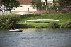 German and foreigner travelers people playing and paddle boat canoe and rest on garden Royalty Free Stock Images