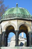 German fountain in Sultanahmet in Istanbul. Turkey. German Fountain - a gift of the German Kaiser Wilhelm II. Installed in Istanbul in 1900 royalty free stock images