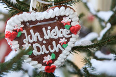 German gingerbread heart with the words Ich liebe dich translates into I love you in English Stock Photo