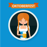 German girl circle avatar portrait. Blonde girl in. Traditional dress with beer. Flat octoberfest character vector illustration Royalty Free Stock Images