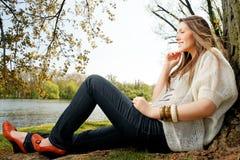 German girl in the park Stock Image