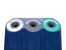 German glass sorting. Glass waste sorting recycle bin based on glass colour in Germany stock images