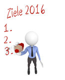 German goals 2016 concept. 3d business character writing with a red pen German goals 2016 stock illustration