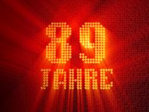 German golden number eighty-nine years. 3D render stock illustration