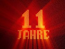 German golden number eleven years. 3D render. German golden number eleven years number 11 years dotted font, top view, with light rays. 3D illustration vector illustration