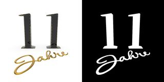 German golden number eleven years. 3D render. German golden number eleven years number 11 years and the inscription years with drop shadow and alpha channel vector illustration