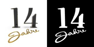 German golden number fourteen years. 3D render. German golden number fourteen years number 14 years and the inscription years with drop shadow and alpha channel stock illustration