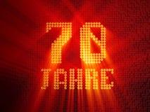 German golden number seventy years. 3D render vector illustration