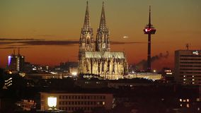 German Gothic Cathedral day to night time-lapse, Cologne skyline. Stock footage stock video