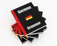 German grammar. Stack of german grammar - rendering Stock Photo