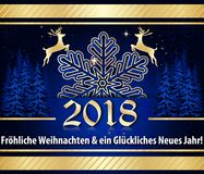 German greeting card `Merry Christmas and Happy New Year` 2018 Stock Photography