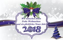 German greeting card `Merry Christmas and Happy New Year` for the New Year 2018 Stock Photo