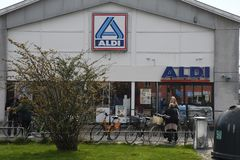 German grocery chain aldi in Kastrup Copenhagen Denamrk. Copenhagen /Denmark./ 07 April 2019/German grocery chain Aldi in Kastrup and danish capital Copenhagen royalty free stock photography