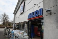 German grocery chain aldi in Kastrup Copenhagen Denamrk. Copenhagen /Denmark./ 07 April 2019/German grocery chain Aldi in Kastrup and danish capital Copenhagen royalty free stock photos