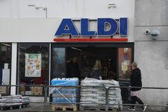 German grocery chain ALDI in Kastrup Copenhagen Denmark. Copenhagen /Denmark./ 07 April 2019/German grocery chain Aldi in Kastrup and danish capital Copenhagen royalty free stock photo