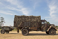 German GS truck and Goliath. WESTERNHANGER, UK - JULY 17: A WW2 German army service wagon, with Goliath land mine in tow, heads toward the main show arena at the Stock Photography