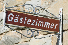 German Guest Room Sign, Eifel Royalty Free Stock Photos
