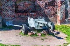 German gun. KALININGRAD, RUSSIA - JUNE 27, 2015: rare German gun 7,5 cm Infanteriegeschutz 37 L/22 at the entrance to the Fort №5 Royalty Free Stock Image