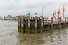 German harbor Cuxhaven with pier and profile former lightship ELBE1 Royalty Free Stock Images