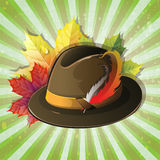 German hat with maple leaves Royalty Free Stock Photography