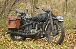German heavy motorcycle. Kiev, Ukraine - November 3: German heavy motorcycle during the Second World War. Military reconstruction. History club Red Star Royalty Free Stock Photography