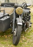 German heavy motorcycle during the Second World War. Kiev, Ukraine - November 3: German heavy motorcycle during the Second World War. Military reconstruction Stock Image