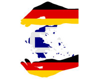 German Help for Greece. Detailed and colorful illustration of german Help for Greece Stock Photo