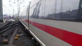 German highspeed ICE train at Frankfurt station stock video footage