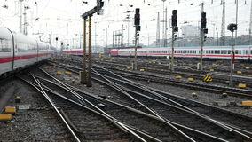German highspeed ICE train at Frankfurt station stock video