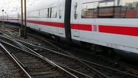 German highspeed ICE train at Frankfurt station. FRANKFURT, GERMANY - February 19, 2016: German highspeed ICE train leaving main station Frankfurt, Germany. ICE stock footage