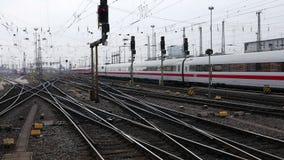 German highspeed ICE train at Frankfurt station. FRANKFURT, GERMANY - February 19, 2016: German highspeed ICE train leaving main station Frankfurt, Germany. ICE stock video