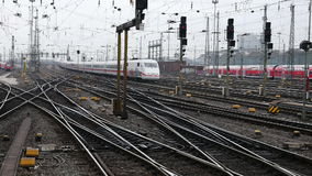 German highspeed ICE train at Frankfurt station. FRANKFURT, GERMANY - February 19, 2016: German highspeed ICE train leaving main station Frankfurt, Germany. ICE stock video footage