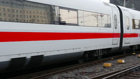 German highspeed ICE train at Frankfurt station. FRANKFURT, GERMANY - February 19, 2016: German highspeed ICE train leaving main station Frankfurt, Germany. ICE stock footage