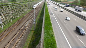 German highway, approaching ICE train stock video footage