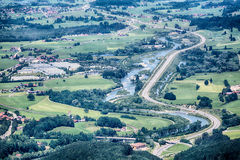 German Highway Passes Through a Valley Stock Photo