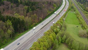German highway A3 and railroad track stock footage