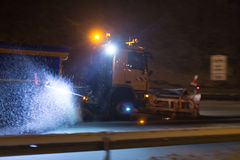German highway snow plow at night Royalty Free Stock Photography