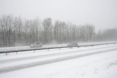 German highway in winter  snow storm Stock Photos