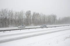 German highway in winter  snow storm Stock Photos