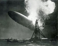 German Hindenburg Zeppelin Explodes. While trying to dock at station in Lakehurst, New Jersey on May 6, 1937. It was the worlds largest airship Stock Photo