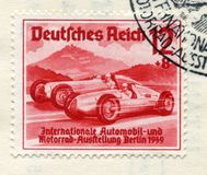 German historical stamp: Racing cars `Auto Union`and` Mercedes-Benz`. `International auto and motor show in Berlin IAA 1939` wit. H special cancellation Berlin stock photo