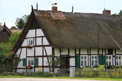 German house with hay roof Royalty Free Stock Photography
