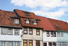 German houses 2. A historic street with Fachwerk (timber-frame) buildings in Quedlinburg, Germany Royalty Free Stock Images