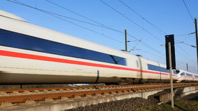 German ICE high speed train. WALLAU, GERMANY - MARCH 18, 2016: A german high speed train (ICE) is passing very close on the Frankfurt-Cologne line near Wallau stock video