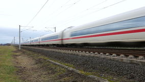 German ICE Highspeed train. WALLAU, GERMANY - January 27, 2016:  An ICE high speed train of German DB (Deutsche Bahn) passing by stock video