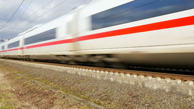 German ICE Highspeed train. WALLAU, GERMANY - January 27, 2016:  An ICE high speed train of German DB (Deutsche Bahn) passing by stock footage