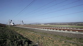 German ICE Highspeed train. Wallau, Germany - March 10, 2014: A passing german highspeed train (ICE) on the Frankfurt-Cologne line near Wallau, Germany. The stock footage