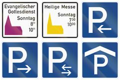 German information road sign - Protestant service on sunday.  Royalty Free Stock Photo